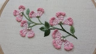 Hand Embroidery Pattern Of A Flower Twig With Easy Stitches For Beginners