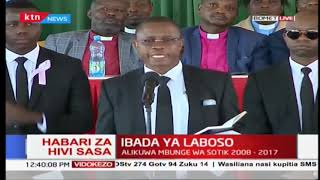 Edwin Abonyo's vote of thanks to everyone including a house-help during Laboso's memorial service