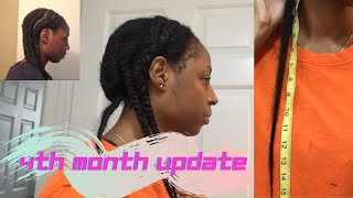 Four Month Old Protective Style For Natural Hair Growth | LENGTH CHECK + BEFORE & AFTER VIDEO