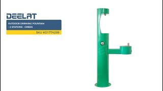 Outdoor Drinking Fountain – 2 Stations - Green     SKU #D1774289