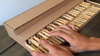 COMO FAZER UM PIANO DE PAPELÃO QUE FUNCIONA DE VERDADE! #HARDPOBRE - Video Youtube