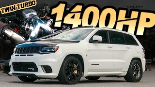 1400HP Jeep Trackhawk - The World's FIRST TWIN TURBO TRACKHAWK! (Big Hawk Breaks the MPH Record) by  That Racing Channel