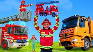 Kinder spielen & lernen mit Feuerwehrauto, Traktor & Müllauto