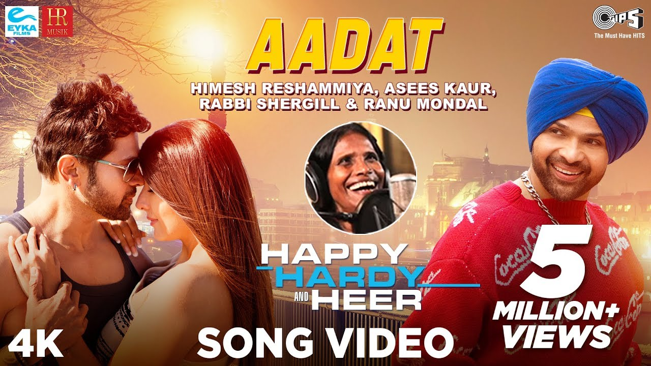 आदत - Aadat Song Lyrics in Hindi - Happy Hardy And Heer - Himesh Reshammiya, Ranu Mondal, Asees Kaur, Rabbi Shergill