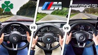 Alfa Giulia QV vs M3 COMPETITION vs C63 S AMG POV AUTOBAHN & SOUND by AutoTopNL
