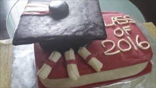 Graduation Cake Tutorial - how to make a graduation cake and mini graduation cupcakes