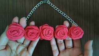 ❤️ MAKE A FABRIC ROSE NECKLACE AT HOME  // FABRIC ROSES TUTORIAL EASY FOR BEGINNERS.