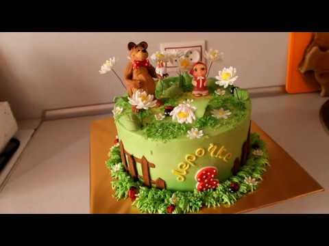 Как оформить кремовый торт Маша и медведь