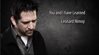 You and I have Learned by Leonard Nimoy read by Seth Hunter Perkins