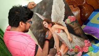 Realistic Oil Painting | Angel Art Drawing By Prabir Biswas