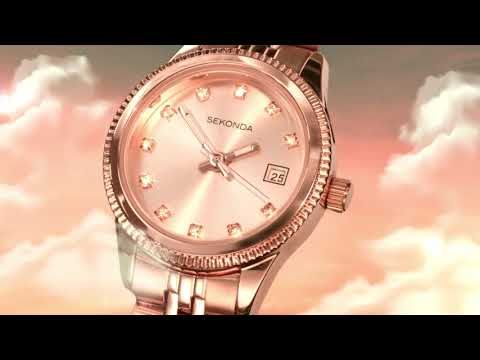Sekonda Serenity Rose Gold Plated Crystal Set Ladies Watch 2764 Video