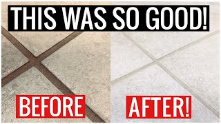 AMAZING GROUT CLEANER for Kitchen, Bathroom Floors & Shower! (Best Cleaning Hack) | Andrea Jean