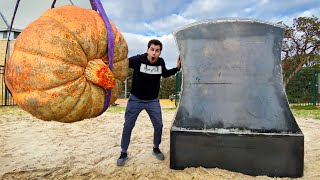 AUSTRALIA\'S BIGGEST PUMPKIN Vs. GIANT AXE from 45m Tower!