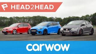 Ford Focus RS vs Honda Civic Type R vs VW Golf R drag race & review   Head2Head