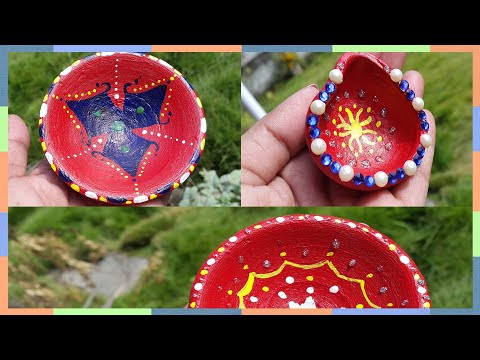 How to decorate diya at home||DIY easy diya decoration for diwali ||DIY Diwali Craft in 5 minute||