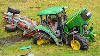Тракторы выходят из под контроля! ⚠️ Аварии и спасения тяжелой техники!