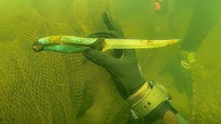 Found Knife Underwater in River While Scuba Diving for Interesting Finds! (Spotted Huge Fish) - Video Youtube