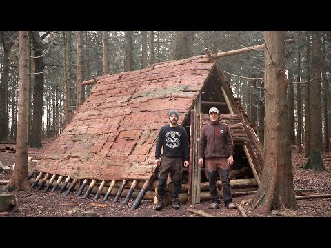 Viking House: Full Bushcraft Shelter Build with Hand Tools   Vikings