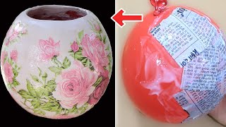 How to make flower pot with balloon and plaster | Pot decoration