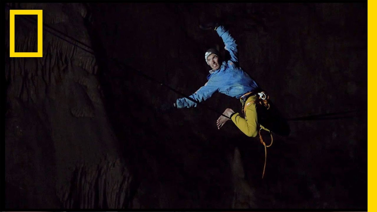 Watch This Daring Highwire Walk Through a Deep Underground Cave | National Geographic thumbnail