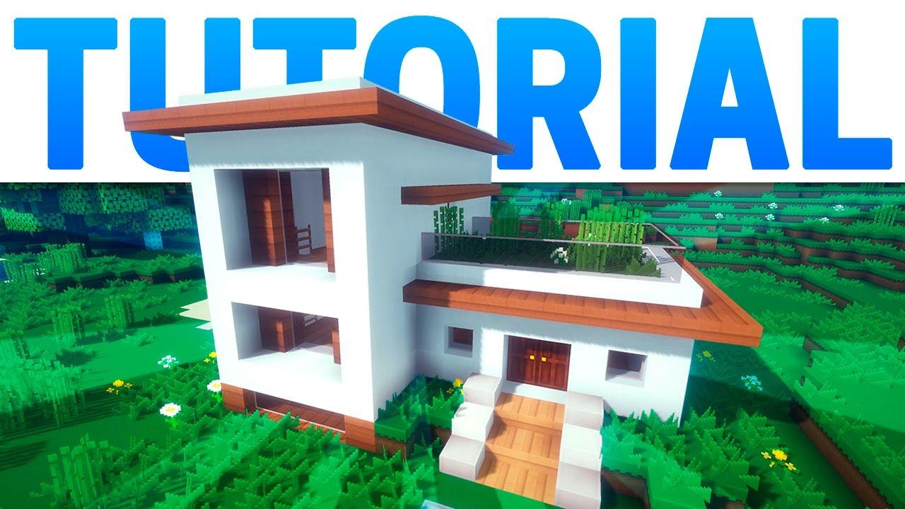 Minecraft casa moderna con jard n en el techo tutorial for Casa moderna jardin d el menzah