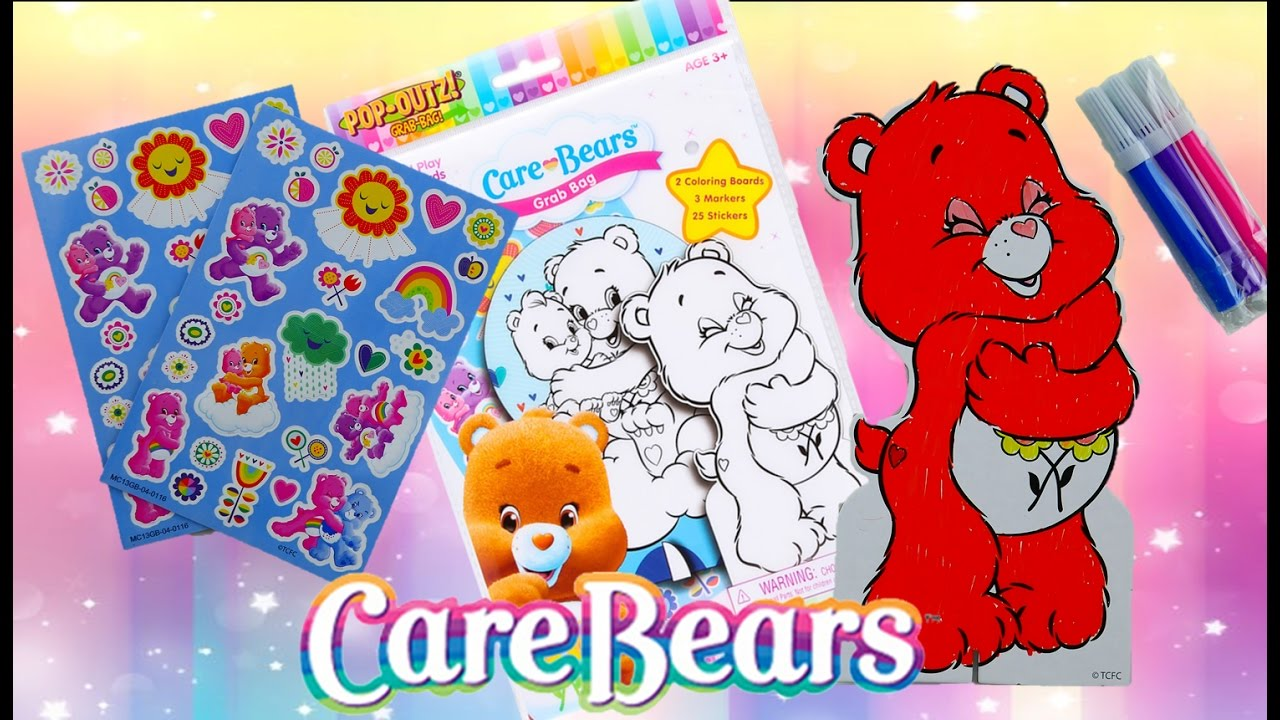 New Care Bears Pop OUTZ! Fun Coloring Kit Speed Coloring Episode | Evies Toy House