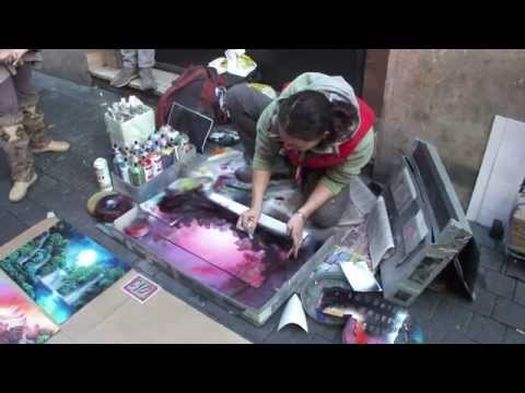 spray painting - enchanted forest and a fairy