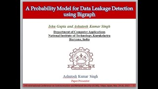 A Probability Model for Data Leakage Detection using Bigraph By Prof  Ashutosh Kumar Singh