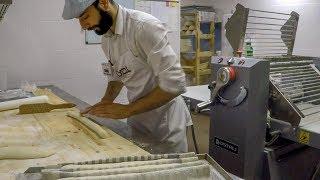 French Baguette And Italian Ciabatta. Making Dough And Baking. Minsk Street Food, Belarus