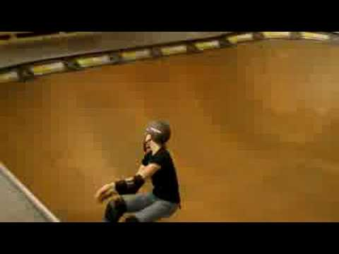 Female Skater Abby Zace  Transfer Wall Ride at WoodWard West