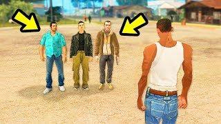 Что будет, если к Сиджею приедут Главные Герои из других частей GTA... в GTA San Andreas?😱