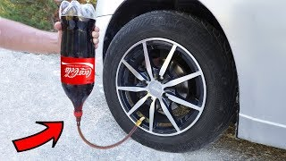 COCA COLA in a CAR TIRE