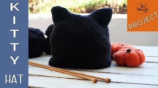 How to knit the easiest Kitty Cat Hat for Halloween (12 months - adult size) - So Woolly
