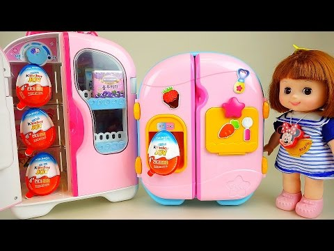 Kinder Joy and Baby Doll refrigerator Surprise eggs + Popcorn toys
