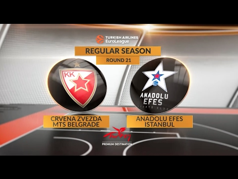 EuroLeague Highlights RS Round 21: Crvena Zvezda mts Belgrade 72-86 Anadolu Efes Istanbul
