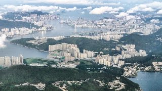 Video : China : Dawn flight arrival in Kong Kong 香港 : lovely views - sky, islands, city ...