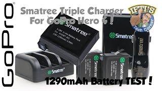 Smatree TRIPLE GoPro Hero 4 Black/Silver Battery Charger + 1290mAh Battery Test!