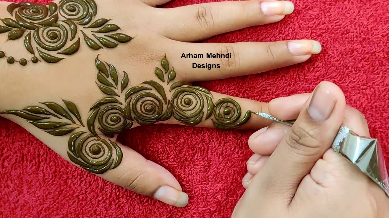 simple & easy mehndi designs roses on back hand by arham mehndi design