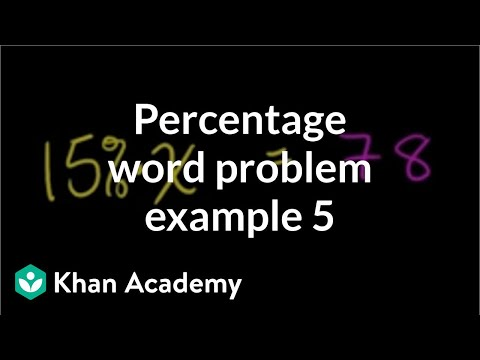 Percent Word Problem 78 Is 15 Of What Number Video Khan Academy