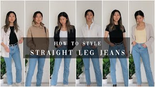 *super Easy* HOW TO STYLE STRAIGHT LEG JEANS | 9 OUTFITS