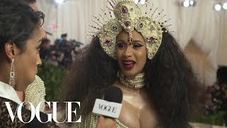 Cardi B on Her Kicking Baby and Pearl-Covered Dress | Met Gala 2018 With Liza Koshy | Vogue - Video Youtube