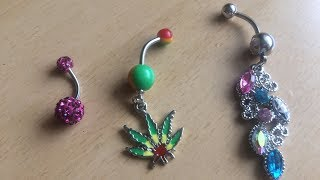 Weed Canabis Stlye Belly Button Dangle Rings Crystal Jewelry Barbell Navel Ball Bar Body Piercing
