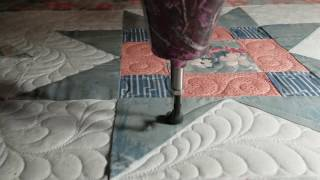 Grey Peach Quilt 3 Blocks And  Feather Fill Custom Longarm Quilting Free Hand Gammill Feathers