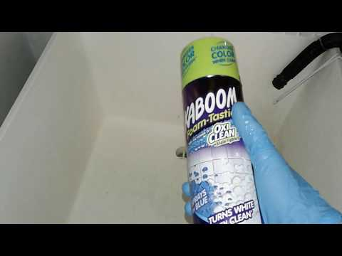 How to Clean Soap Scum from utility tub | Kaboom vs Lysol w/ bleach REVIEW