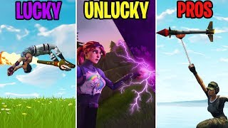 GRAPPLING HOOK ONTO A GUIDED ROCKET?! LUCKY vs UNLUCKY vs PROS! Fortnite Funny Moments
