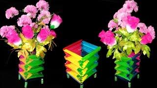 How To Make Popsicle Sticks Flower Vase | Popsicle Stick Crafts Ideas | DIY Home Decor