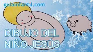 Dibujo infantil de Navidad. Niño Jesus