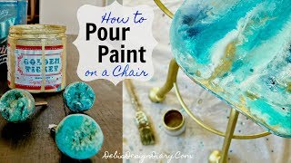 Thrifted & Up Cycled Furniture How To Paint Pour On A Chair Inspired By Anthropologie