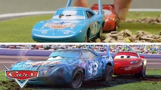 Lightning Helps The King Scene | SIDE BY SIDE Toy Play | Pixar Cars