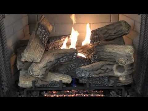 Superior Fireplaces Massive Mixed Oak Ventless Gas Logs Burn Video